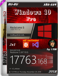 Windows 10 Pro 17763.168 RS5 RTM 2x1 by Lopatkin (x86-x64) (2018) [Rus]